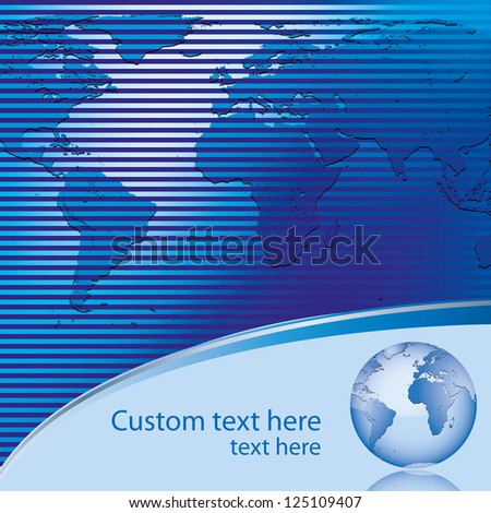 Abstract blue business background with earth map