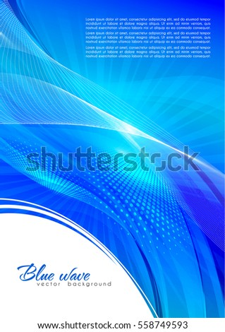 Abstract blue color background with lighting effect. Bright cover design layout for corporate flyer, business book, booklet, brochure, poster, banner. Vector