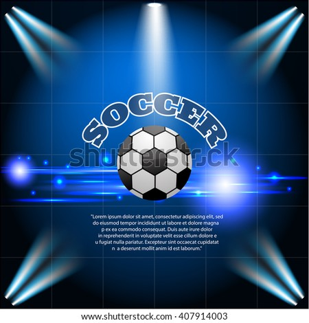 Abstract blue light football soccer background eps 10 vector illustration
