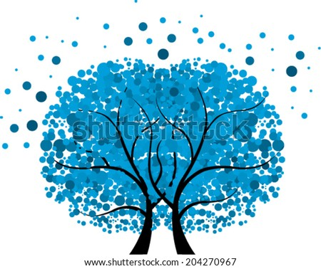 Abstract blue twin tree - Vector Illustration
