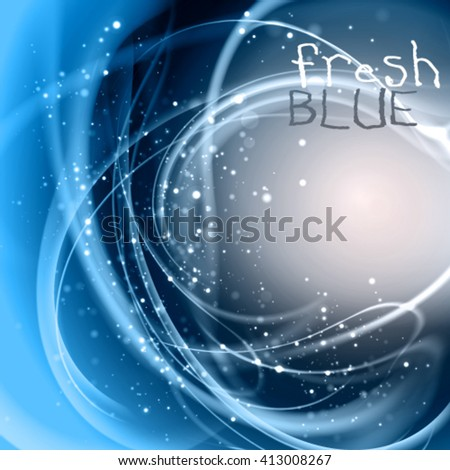 Abstract blue vector background. Pure ice frame with sparkling fresh fibers