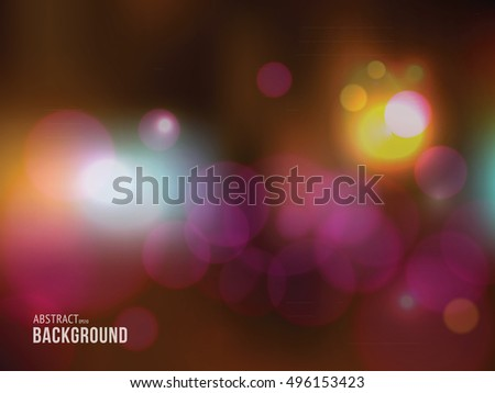 Abstract blurred background with bokeh lights. Vector illustration