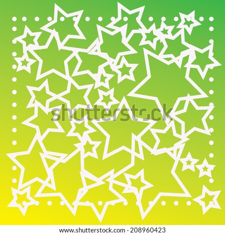 abstract bokeh white star on a green background