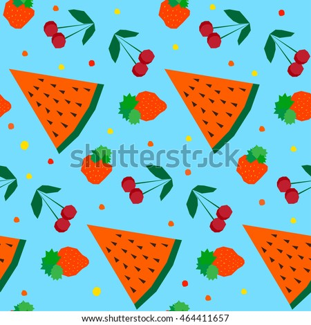 stock vector abstract childish geometric seamless pattern background handmade angular applique elements 464411657 - Каталог — Фотообои «Еда, фрукты, для кухни»