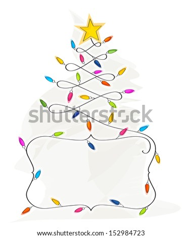 Abstract Christmas Tree made of light bulb wire banner