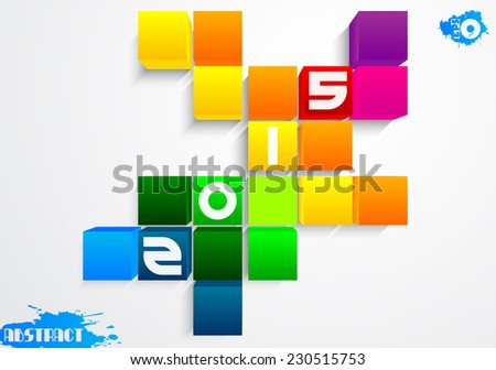 Abstract color cubes with figures 2015