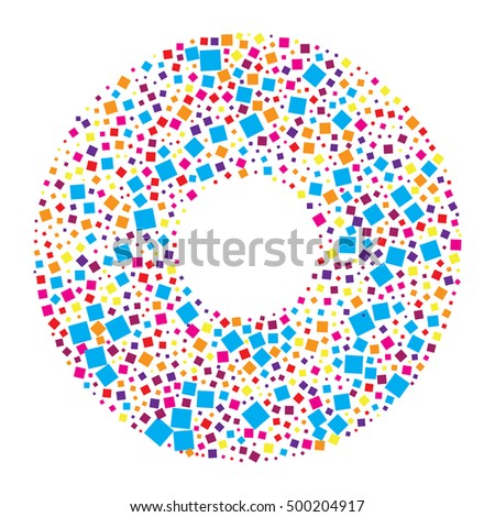 abstract color square shape vector design in circle