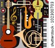 Abstract colored music instruments, full scalable vector graphic, change the colors as you like. - stock photo