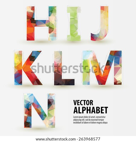 Abstract colored polygonal triangular modern alphabet design background. Vector illustration - part 2