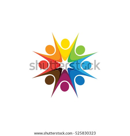 Abstract colorful five happy people vector logo icons as ring. This can also represent concept of children playing together or team building or group activity, unity & diversity