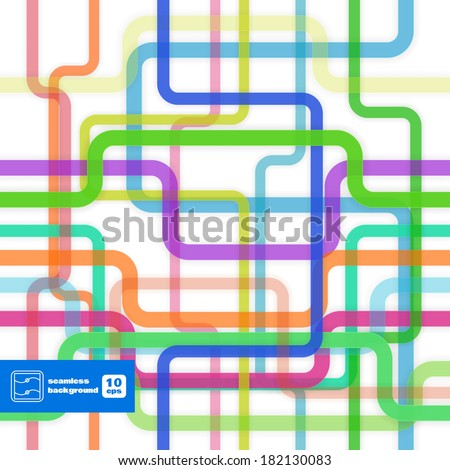 Abstract Colorful Flat Lines Seamless Pattern. Vector
