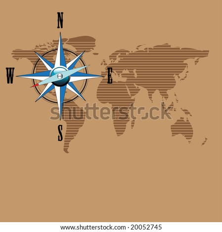 Abstract colorful illustration with compass and world map on brown background