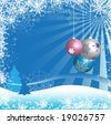 Abstract colorful illustration with snowflakes, blue fir trees and Christmas balls - stock photo