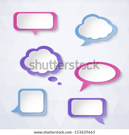 Abstract colorful paper bubbles for speech on a light background. Design elements. Vector illustration.