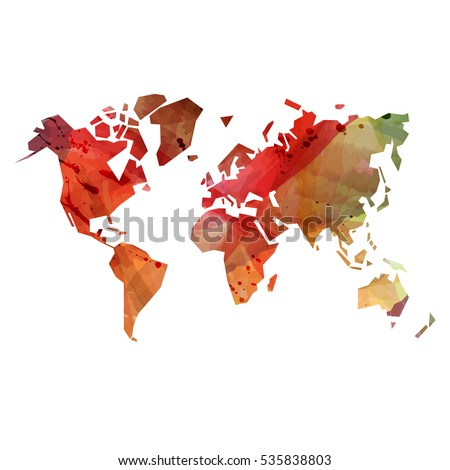 Abstract colorful watercolor background with world map silhouette