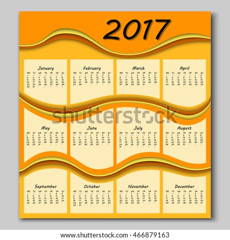 abstract colorful waves calendar 2017 year begins with monday