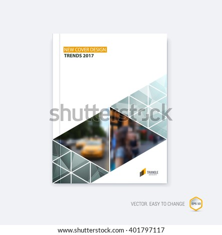 Abstract cover design, business brochure template layout, report, booklet in A4 light with gray blue diagonal triangular geometric shapes on polygonal background. Creative vector Illustration.