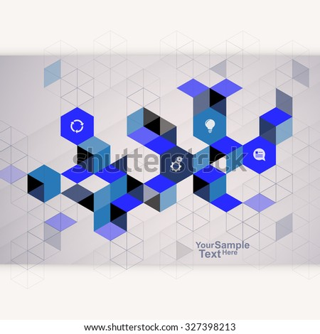 Abstract Cube Design Template blue