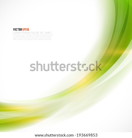 Abstract curve smooth green flow background, Vector illustration