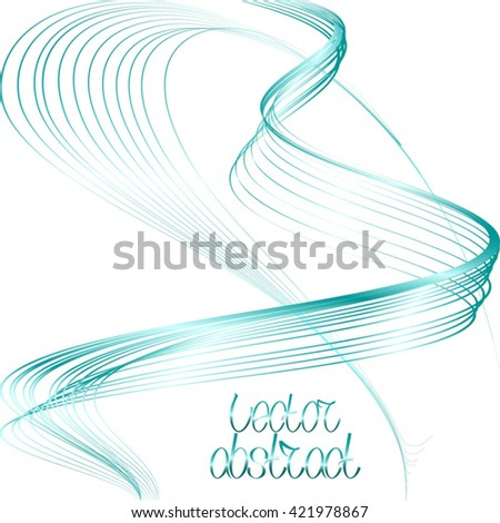 Abstract Curved Pattern. Striped Background. Azure Lines and Turquoise Waves. Vector Illustration