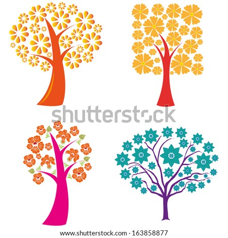 abstract cute trees on a white background