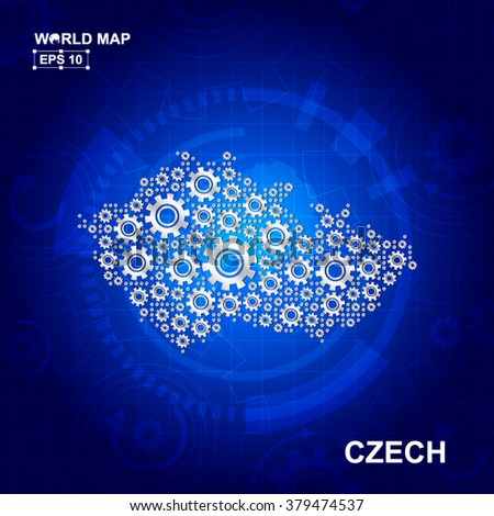 Abstract Czech gear map. Vector design