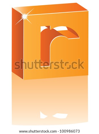 Abstract 3D Alphabet Letter R Cube Symbol Icon EPS 8 vector grouped for easy editing.