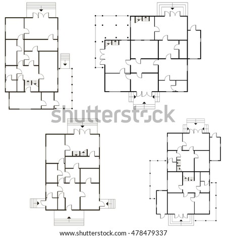 Abstract 2d vector architectural blueprint background