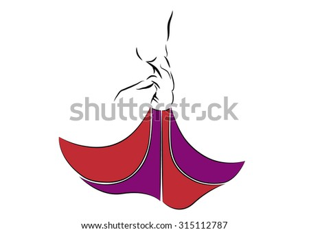 Abstract dancer with colorful skirt