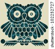 Abstract decorative network textured night owl. Vector. - stock photo