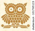 Abstract decorative owl printed on vintage textured surface. Vector. - stock vector