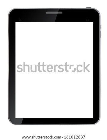Abstract design  realistic tablet with blank screen isolated on white background..Vector  illustration