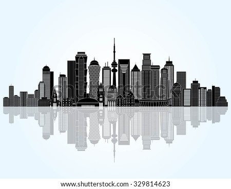 Abstract detailed city skyline. Vector illustration