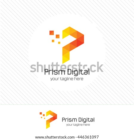 combination letter p abstract vector logo stock vector
