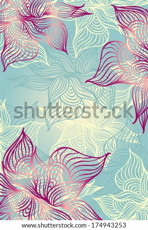 Abstract floral Background with flowers   grunge in blue color hand draw