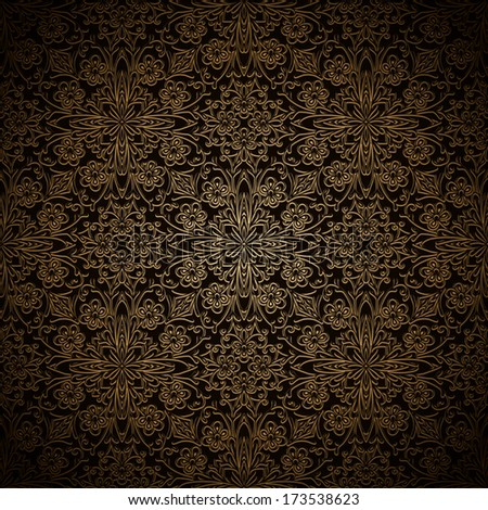 Abstract floral ornament, filigree seamless pattern, vintage vector gold background