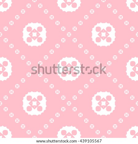 Abstract floral ornament seamless pattern with diagonal floral ornament of pink color for wallpapers and background.
