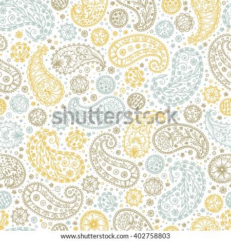 Abstract floral seamless pattern. Hand drawn doodle Paisley. Oriental patterns