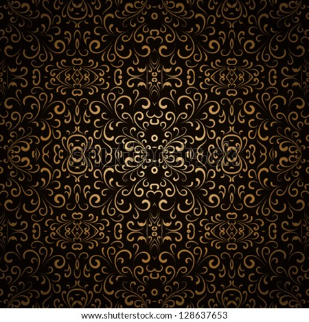 Abstract floral seamless pattern, vintage gold background, EPS10 vector
