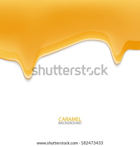Abstract flowing down honey, drips, caramel background. Vector Illustration