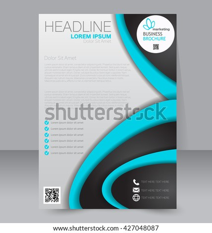 Abstract flyer design background. Brochure template. To be used for magazine cover, annual report, business mockup, education, presentation. Blue and black color.