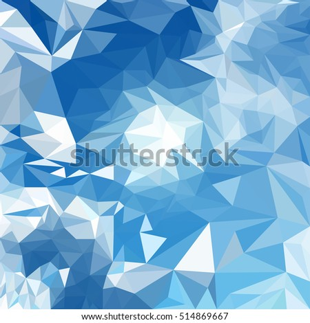 Abstract geometric background with shining bright blue and white polygonal pattern.