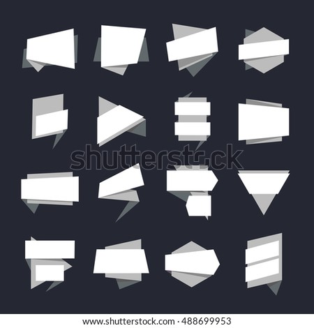 Abstract Geometric Banners Label Template Collection for Sale Banners Design, white Tags and stickers can use for promotional labels flat Vector illustration