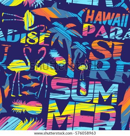 Abstract geometric pattern shark fashion print stock for Hawaiian design t shirts