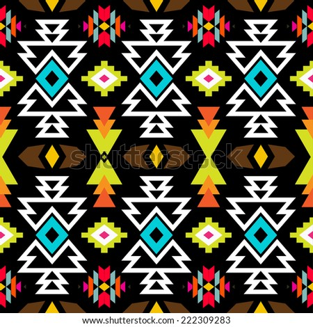 Abstract geometric seamless pattern. Aztec style pattern with triangle and line