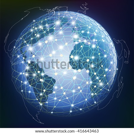 Abstract global digital communication. Concept of networked digital connections.