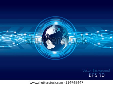Abstract global earth technology background, vector