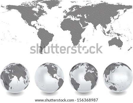 Abstract globes with abstract world map