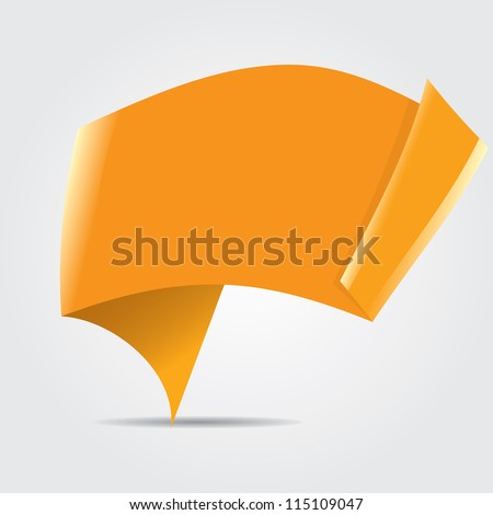 Abstract glossy orange origami speech bubble. Vector abstract background. Orange brochure.