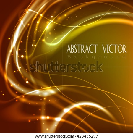 Abstract glowing background with heat  fibers. Burning vector frame